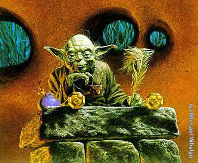 YODA, MASTER JEDI, by professional artist Michael Whelan, inspired by film writer-director George Lucas