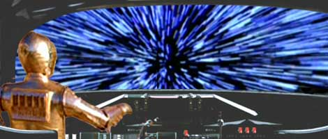 In this dynamic picture by Nat, See-Threepio pilots the Galactic Alliance shuttle into hyperspace.