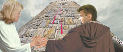 As the two escapees land at the base of the tower, Imperial stormtroopers appear high above, and Luke leads Alana back inside through the hole he had cut eaarlier. Artwork by Nat.