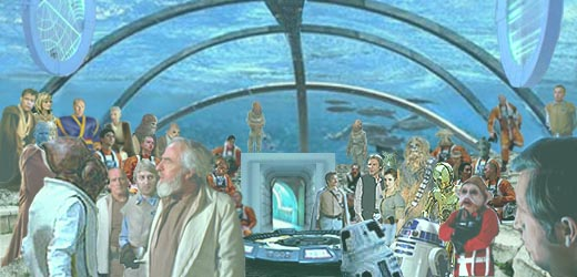 As the generals discuss, and Luke, Alana, and the other Jedi look on, Leia and the droids prepare their presentation ; image created by Nat.