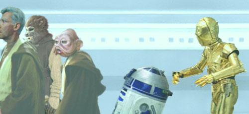Threepio expresses his concern for his little friend, Artoo Deetoo