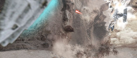 Luke opens fire and creates a huge rockfall that catches all the TIEs in one go !