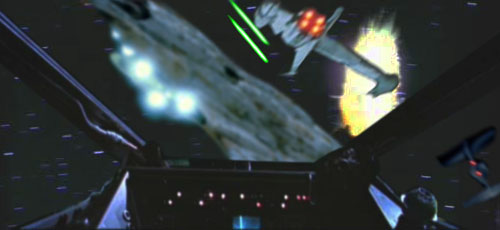 A B-Wing fighter defends Wedge, but soon picks up his own enemy fighter on his tail !