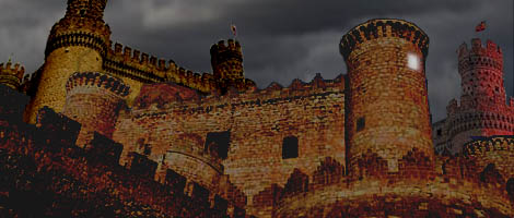 At night, a single light shines from one of the castle towers on Kessel ; image by Nat.
