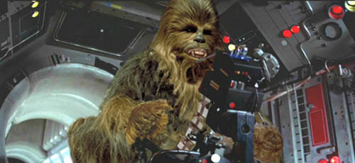 Chewie fires back at the pursuing TIE fighters !