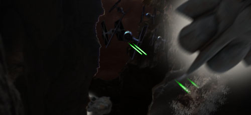 A new round of TIE fighters swoop down from above !