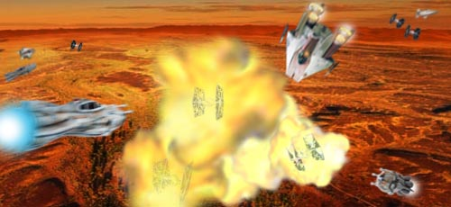 Master Gri San Wei and his wingmen destroy several TIE fighters !
