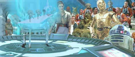 In this illustration by Nat, the droids begin their presentation inside the main briefing room in Aquilae Base.