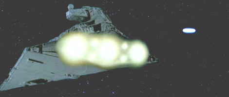 The Falcon and the Star Destroyer jump to hyperspace.