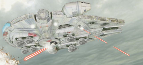 The Millennium Falcon swoops in with covering fire !
