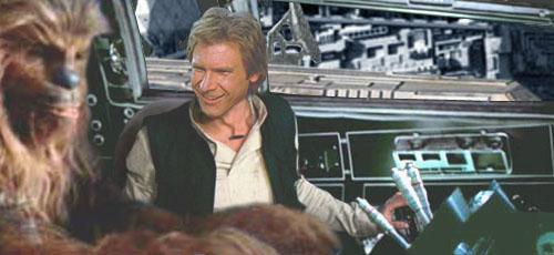 Han speaks to Lando via the cross-ship transponder.