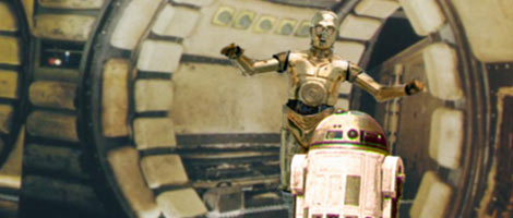 Artwork by Nat : Artoo meets Threepio at the Falcon's entrance, as the ship lurches out of Ophuchi.