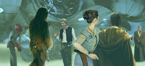 As Han and Chewie return to the Falcon, Luke and Leia are met by Master Jedi Dree Tan.