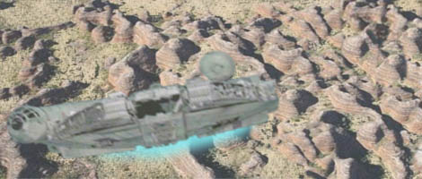 The Falcon rockets out of the Bungle Range and heads for outer space !
