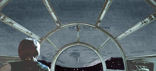 Han lines up on the Star Destroyer's reactor dome and aims for one of the support braces....