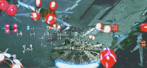 In this image by Nat, the Millennium Falcon leads the GA starfighters against the ranks of TIE fighters !