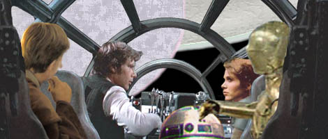 In this image by Nat, Han and Leia discuss the options of travelling on to Kessel, while Luke and the droids listen.