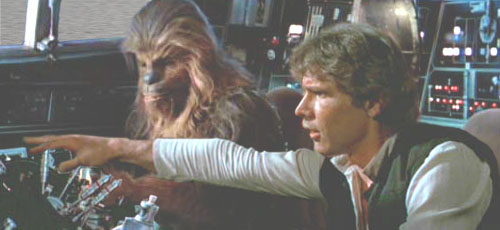 Han spots the pursuing TIEs, and Chewie suggests heading for the Bungle Range !