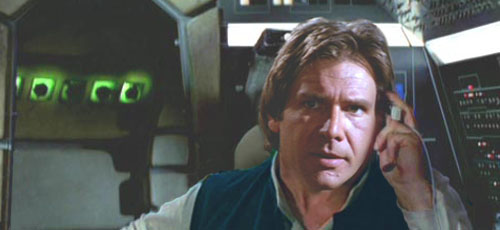 Han suggests using the 'Corellian Eclipse' manoeuvre.