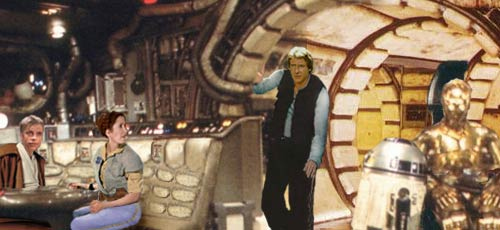 Han alerts the others that the Falcon is about to arrive at Townowi, artwork by Nat.