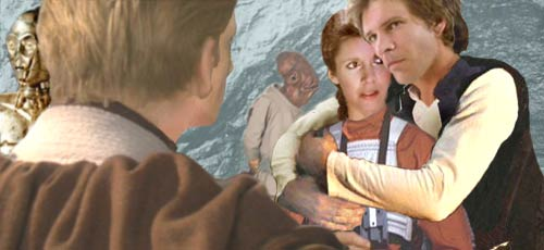 In this artwork by Nat, Han embraces his wife, and he and Leia update Luke with news from Coruscant.