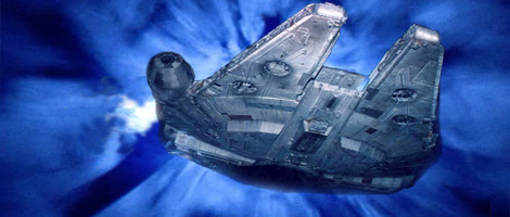 Another view of the Falcon at lightspeed. Artwork by Nat.