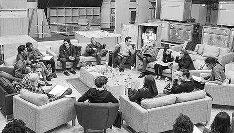 Click to open a larger version of the cast and primary crew on a script read-through
