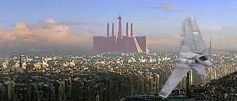 The red-tinted Imperial Palace, Coruscant, at the time of Emperor Palpatine and Emperor Amedda. Artwork by Nat.