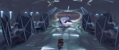 Jedi Master Skywalker runs into a Palace hangar bay and sees Darth Kayos' ship rise and turn.