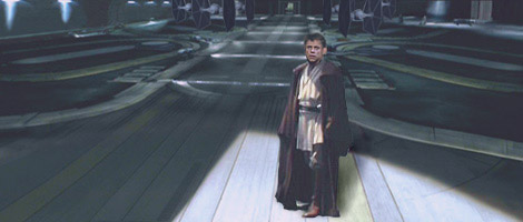 Luke looks up to see Kayos' ship escaping into the ever-busy Coruscant traffic lanes.