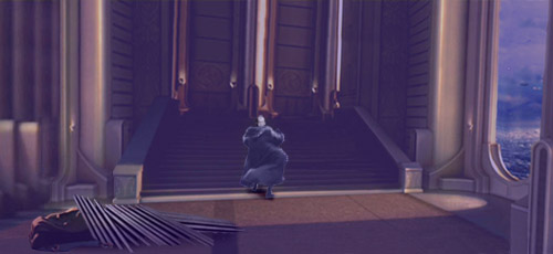Leaving young Master Skywalker trapped under a ceiling grid, an injured Darth Kayos beats a hasty retreat !