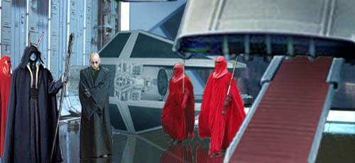 Darth Monstross meets Lord Kayos in the hangar bay.