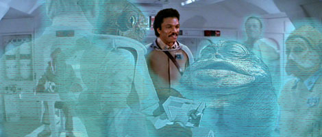 Aboard his Mon Cal star cruiser, General Lando Calrissian confirms to Commodre Trella that the GA have only peaceful intentions for the spice world. Artwork by Nat.