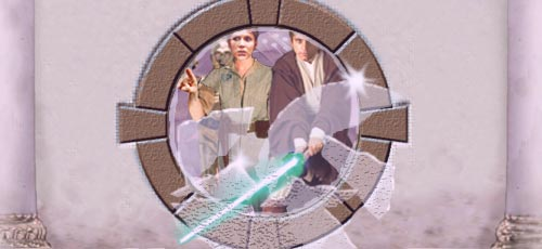 In this dynamic picture by Nat, as Luke slices through a window with his laser sword, Leia indicates their route to the Falcon !