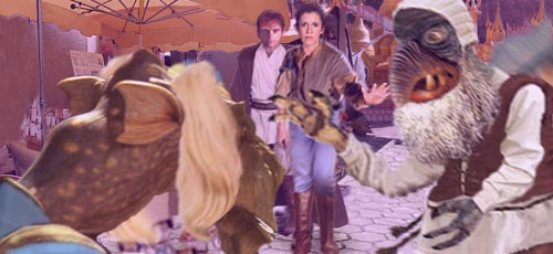 Leia calls upon the Force to calm the enraged vendor, allowing them to remove Watto for questioning in a side alley. Artwork by Nat.