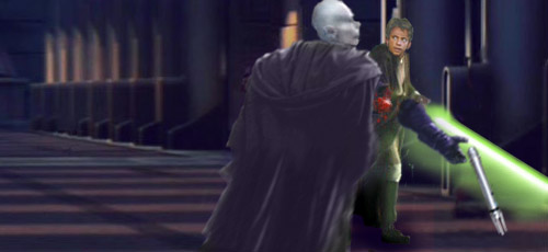 Luke Skywalker sweeps his lightsabre around and slices off the sword arm of Darth Kayos !