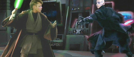 A dynamic image by Nat showing Jedi Knight Luke Skywalker duelling Sith Lord Darth Kayos in a Palace control room !