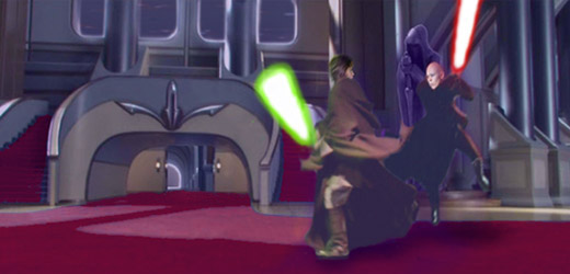 Luke Skywalker and Darth Kayos duel ferociously deep within the red-carpeted corridors of the Imperial Palace.