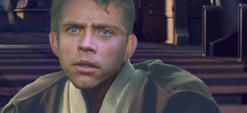 Luke looks up to see the Sith Lord escaping.
