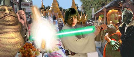 Artwork by Nat : Master Luke Skywalker deflects a laser bolt in a Nal Hutta street market.