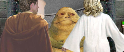 Luke and Alana come face to face with the traitorous Weesla the Hutt ! Artwork by Nat.