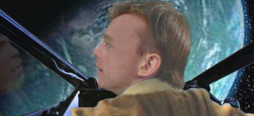Luke glances over his shoulder at the approaching starfighter.