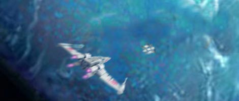 In this illustration by Nat, Leia's Mon Cal 'Coraller' leads Luke's X-Wing to Aquilae Base.