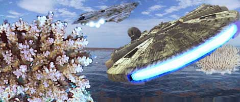 The Millennium Falcon returns to the base of operations built within a huge coral outcrop on the ocean world of Mon Calamar.