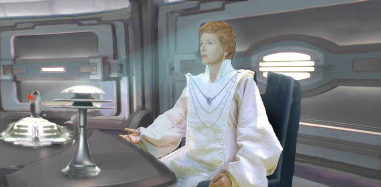 In this illustration by Nat, Mon Mothma reveals to Coruscant and to the galaxy at large the audacious plans of the incumbent Second Emperor, Mas Amedda.