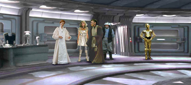 In this establishing shot by Nat, Mon Mothma welcomes Luke, Alana, and Threepio to her office space directly underneath the disused Senate Chamber.