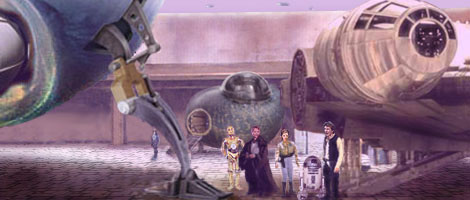 Artwork by Nat & Scott : Han and Artoo wish Luke, Leia, and 3PO luck and the Force be with them as they leave to seek an audience with Barrola the Great.