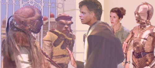 With an impressed Leia looking on, Luke influences the guards with a Jedi mind trick. Artwork by Nat.