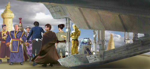 King Oxus greets Han and the others as they disembark the Falcon. Artwork by Nat.