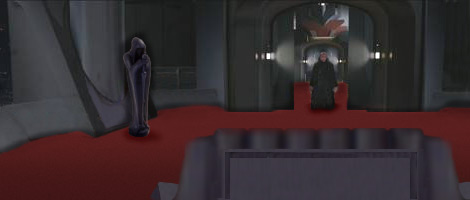 Someone enters the Imperial Throneroom in the Palace on Coruscant. Artwork by Nat.